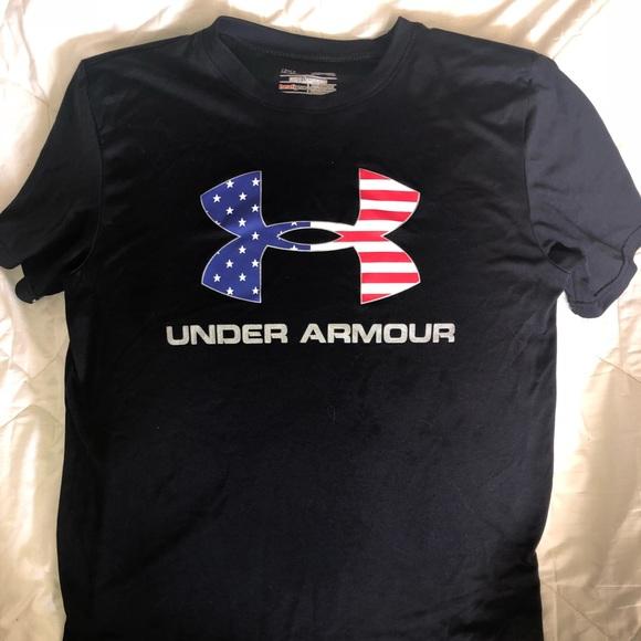 Under Armour Shirts Tops Usa Tshirtamerican Flag Decal Poshmark
